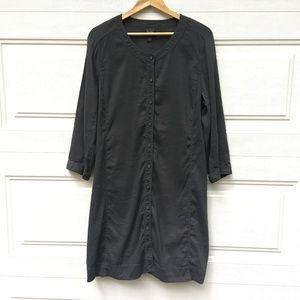 Eileen Fisher Button-Down Shirt Dress XL Gray